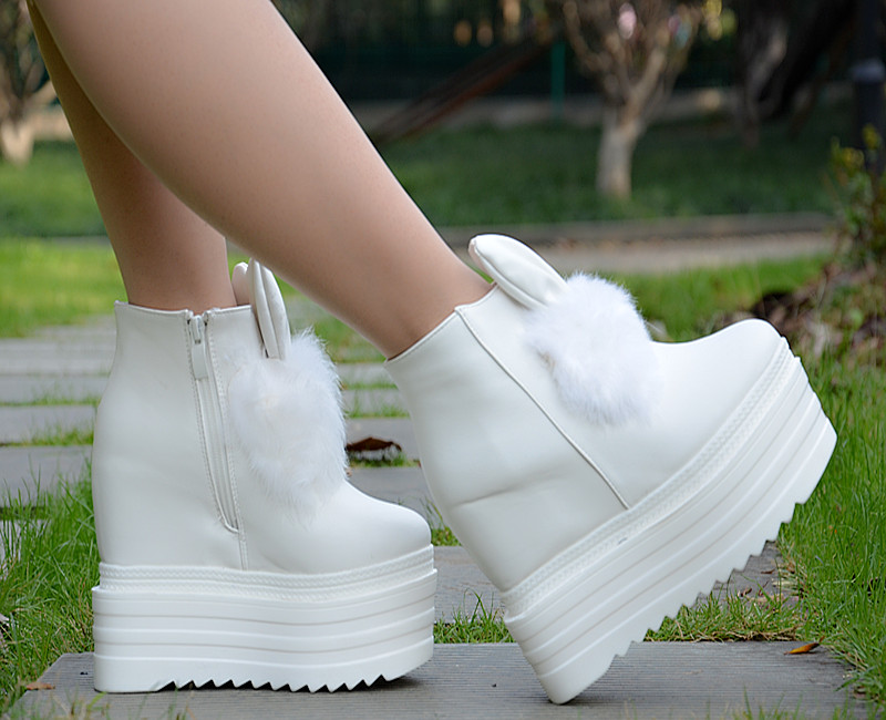2017 autumn and winter new slope with 13cm muffins platform shoes Rabbit hair ears with high - heeled female boots