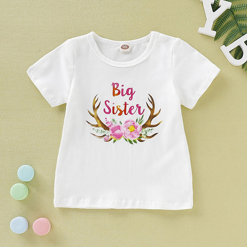 T-Shirt Matching Tops Short-Sleeve Print Floral Baby-Girl Cotton Summer Letter Cute Sister