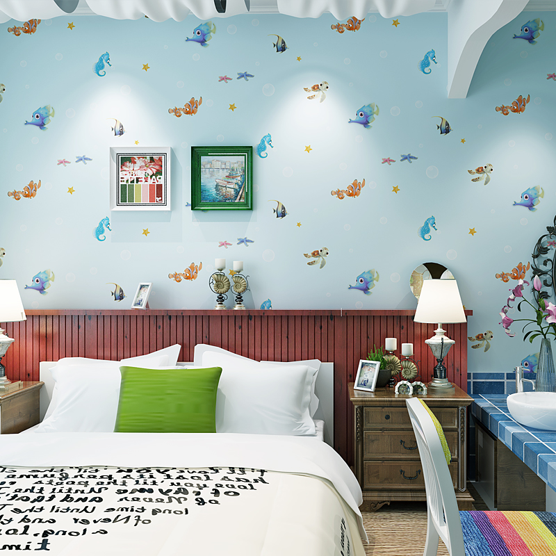 beibehang for boys girls blue ocean goldfish Background papel de parede 3d Wallpaper Living Room TV Background Wall Paper