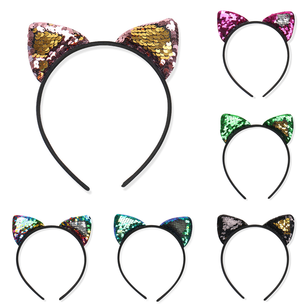 Headband Sequins Glitter Cat Ears Hair Accessories Hairband Hair Hoop Fabala