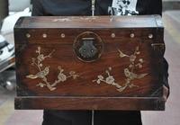 christmas 16 Old Chinese Huanghua Li wood inlay shell flower bird statue Storage box New Year