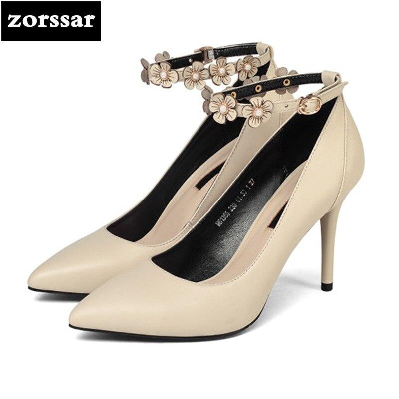 где купить {Zorssar} Brand 2018 New fashion Flowers womens pumps shoes Thin Heels Leather Pointed toe Shallow Ankle Strap High heels shoes по лучшей цене