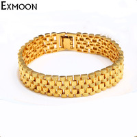 EX-MOON Mens Gold Kleur 15mm Breed Punk Wrap Armbanden & Bangles Nieuwe Ontwerp Chain Link Manchet Armband Sieraden