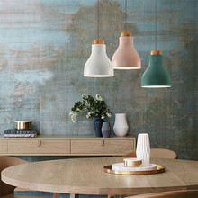 Simple Modern LED Pendant Light Fixtures Nordic Loft Style Single Droplight Japanese Wood Iron Hanging Lamp Indoor Lighting