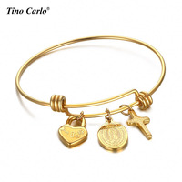 Mother Maria And Cross Expandable Wire Bangle Bracelet Vintage Gold Color Adjustable Charm Bracelet Jewelry SFB111