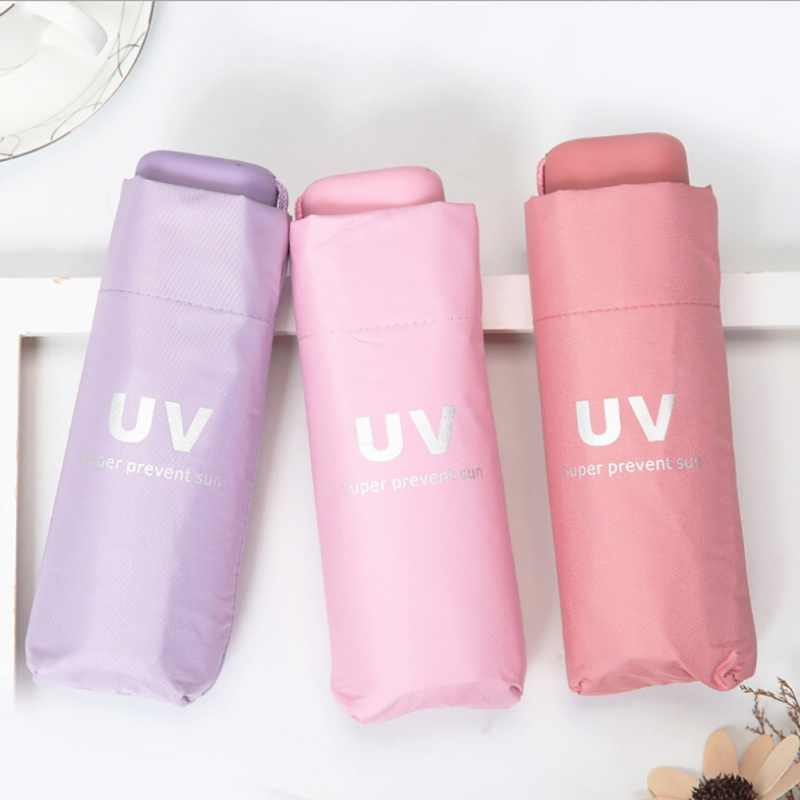 UV Protection Sun Shade Cute Fresh Vinyl Umbrella Men And Women Students Five Folding Clear For Girl
