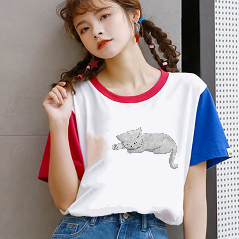 2019 new fashion women tshir graphic t shirts summer top Wait a minute and let me sleep again Printed O-Neck Tee Shirt Fashion