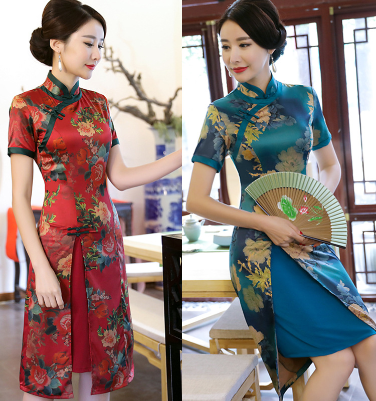 2019 Print Floral Vietnam Style Short Ao Dai Qipao Dress