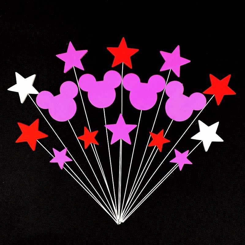 1 компл./лот Минни Маус, милая Минни Микки Мышь «Торт фигурки жениха и невесты; Fondant (сахарная) провод + губка пены с флагом, для детей День рождения украшения свадебные принадлежности