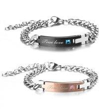 88c425b4f61a Moda pareja joyería Acero inoxidable verdadero amor pulsera de diamantes de  imitación para Mujeres Hombres brazaletes regalo