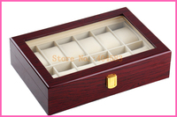 12 Slot Piano Lacquer Wood Watch Display Case With Glass Top