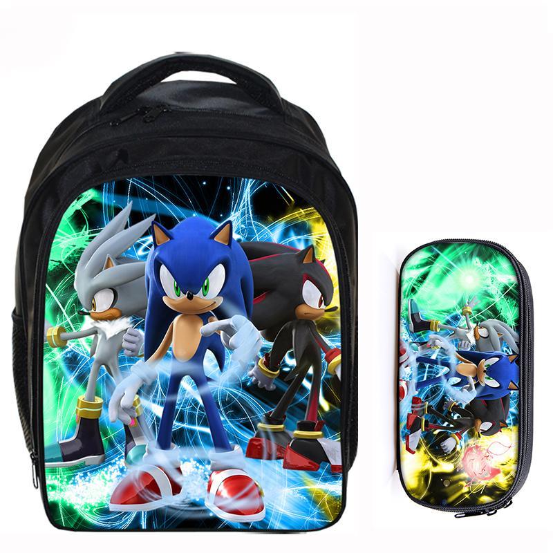 13 Zoll Super Mario Bros Sonic The Hedgehog Cartoon Kinder Rucksack Schule Taschen Für Jungen Mädchen Mochila Infantil Bleistift Tasche Sets