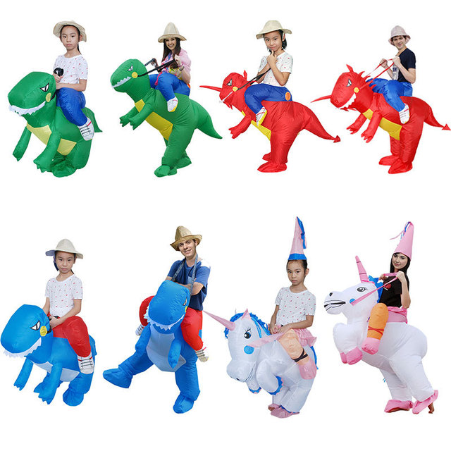 Adult Cosplay Costume Kids Inflatable Dinosaur Unicorn Cowboy Halloween Costumes For Women Wen Fantasia Party Jumpsuit