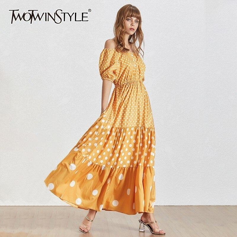 TWOTWINSTYLE Summer Polka Dot Dress For Women Slash Neck Puff Sleeve High Waist Maxi Dresses Female