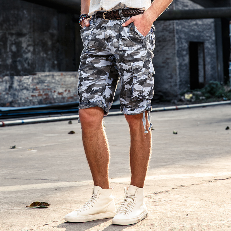 2017 Hot Summer Mens Army Cargo Work Casual Bermuda Shorts Men Fashion Joggers Overall military Camou Trousers Size 38 NO belt