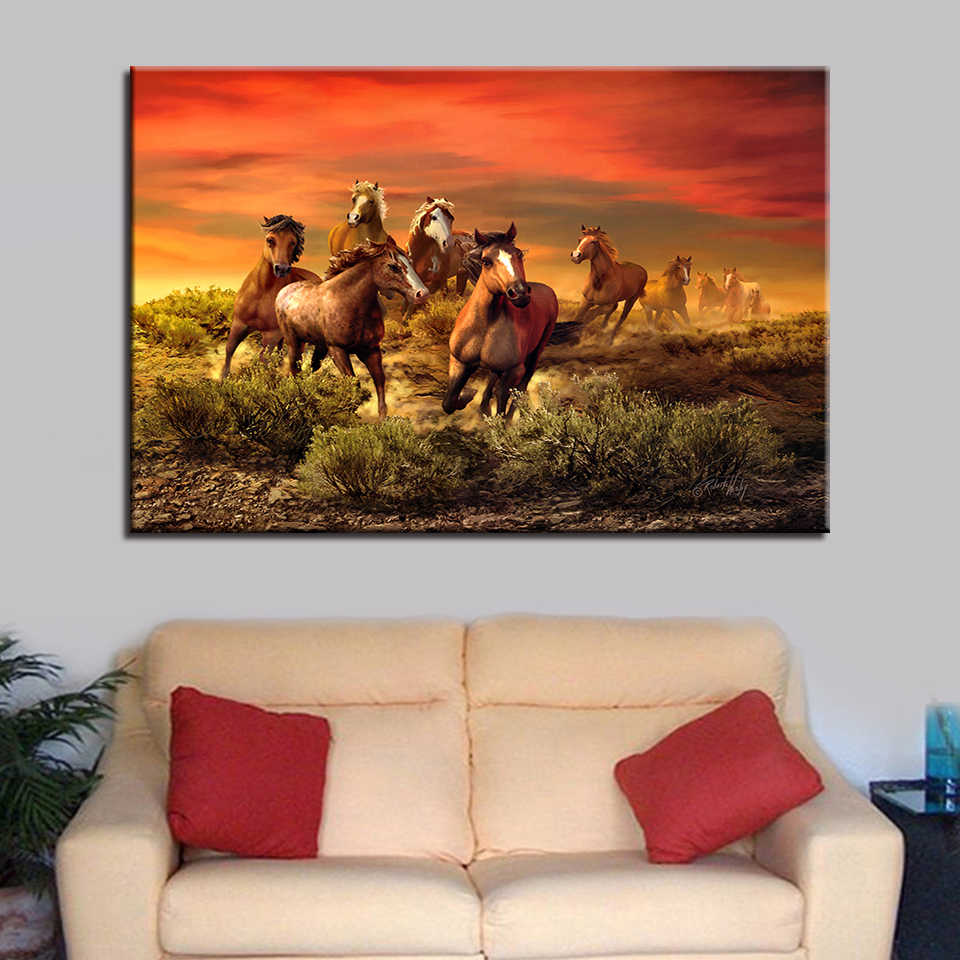 Canvas Paintings Wall Art Home Decor HD Prints Framework 1 Piece/Pcs Sunset Running Horses Pictures Living Room Animal Poster