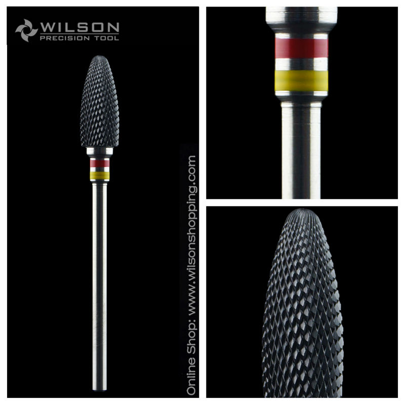 Bullet Shape-Double Fine-Black Ceramic(6410801) - WILSON Ceramic Nail Drill Bit & Zirconia Ceramic Dental Burs