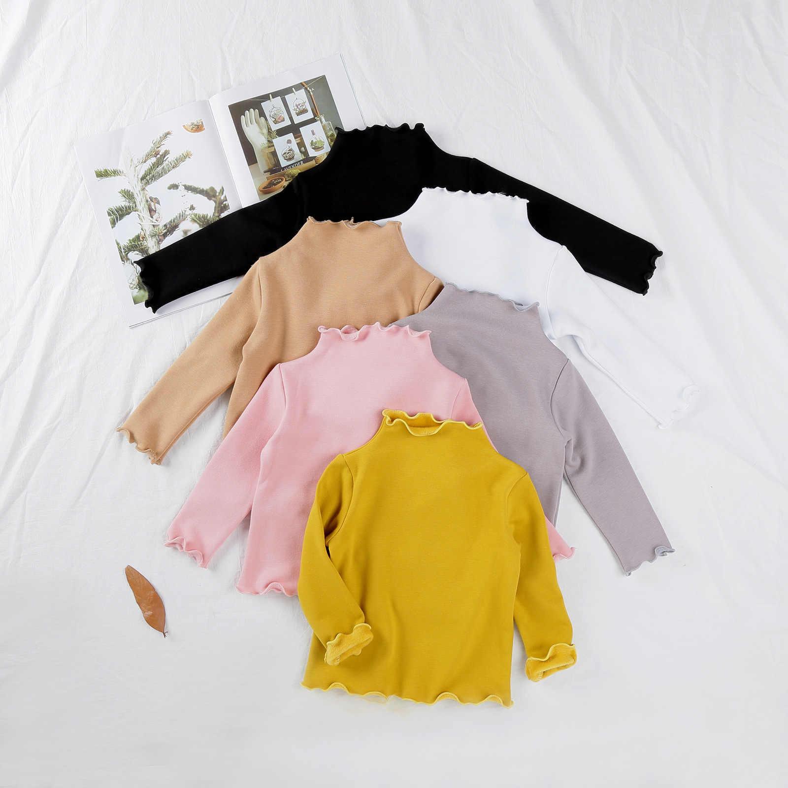 ea0eec76 Winter Baby Girl T Shirts Velvet Thick Warm Toddler Girls Tops Blouse Long  Sleeve Turtleneck Bottoming