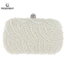 Luxury Fashion Crystal Pearl White Evening Clutch Bags Women Elegant  Minaudiere Bridal Handbag Wedding Party Lady