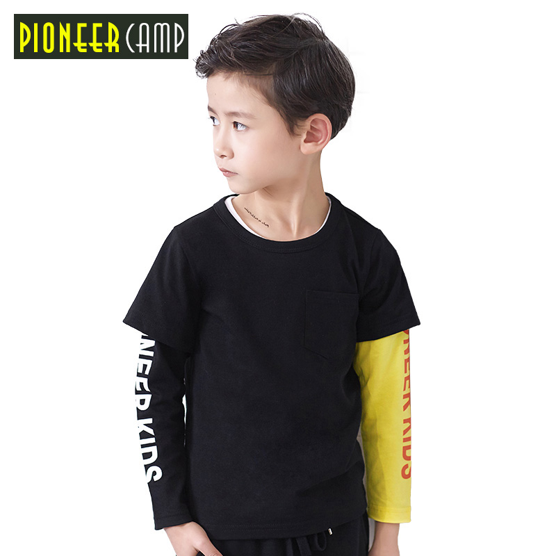 Pioneer Camp Kids New Arrival Spring Boys T Shirt Children Long Sleeve Round Neck T Shirt Fashion Kids Top Tees fashion design breast pocket v neck long sleeve t shirt