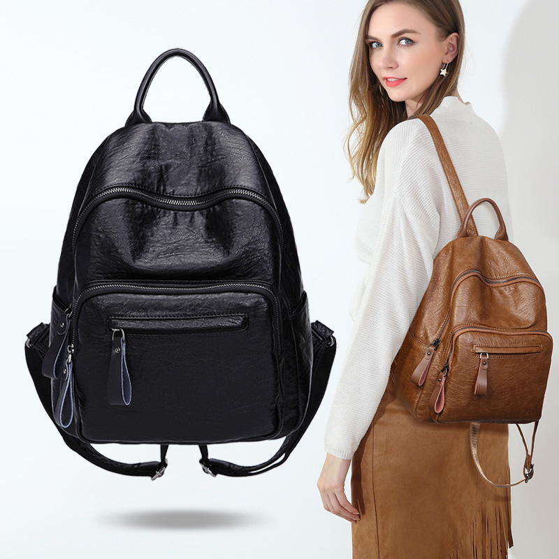 Genuine Leather Backpack Women Fashion School Bag for Teenagers Casual Rucksacks Leather Laptop Brand Mochila Bags female C416 все цены