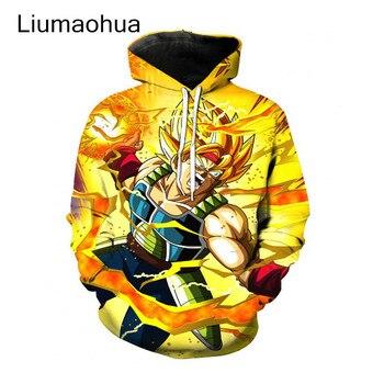 Liumaohua New Men Women Dragon Ball Z Super Saiyan Hooded Sweatshirts Outerwear 3D Print Anime  Sweatshirt Hoodies Pullovers hot sale anime dragon ball z pocket hooded sweatshirts kid goku 3d hoodies pullovers men women long sleeve outerwear hoodie