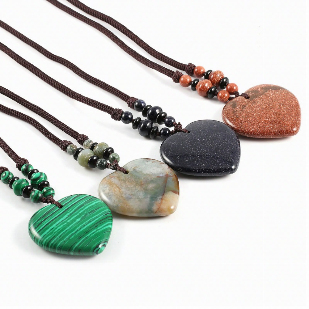 New Design Pendant Necklaces Bohemian Jewelry Natural Stone Matching Stone Heart Shape Pendant Necklaces for Women in Pendant Necklaces from Jewelry Accessories