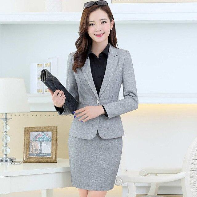 2015 nova Formal saias ternos elegantes Blazer e conjuntos de jaqueta moda outono OL ternos feminino uniforme Plus Size XXXL