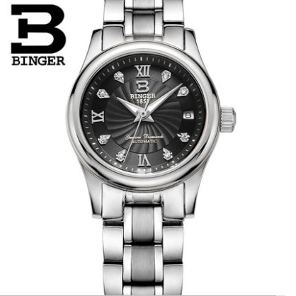 Business Couple Watches 18 Colors BINGER Luxury Automatic Mechanical Watch Men Wristwatches Silver Stainless Steel Starp B-603L