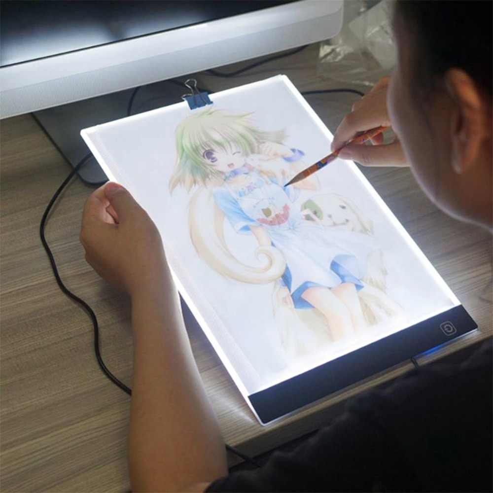 Digital Drawing Tablet A4 LED Huion Artis Tipis Seni Stensil Lampu Papan Seni Kotak Tracing Menulis Elektronik Tablet Grafis Pad