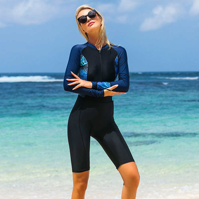 SBART Womens One-piece Long Sleeve Anti-UV Quick-drying Wetsuits Surfing Snorkeling Diving Wetsuit Front zip with bra pad S-2XL
