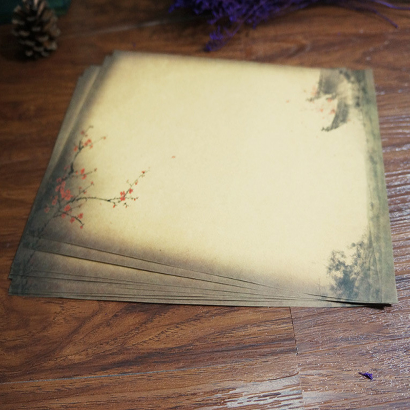 8pcs/lot 26.5*18.8cm Years Square Chinese Style Retro Kraft Paper Stationery