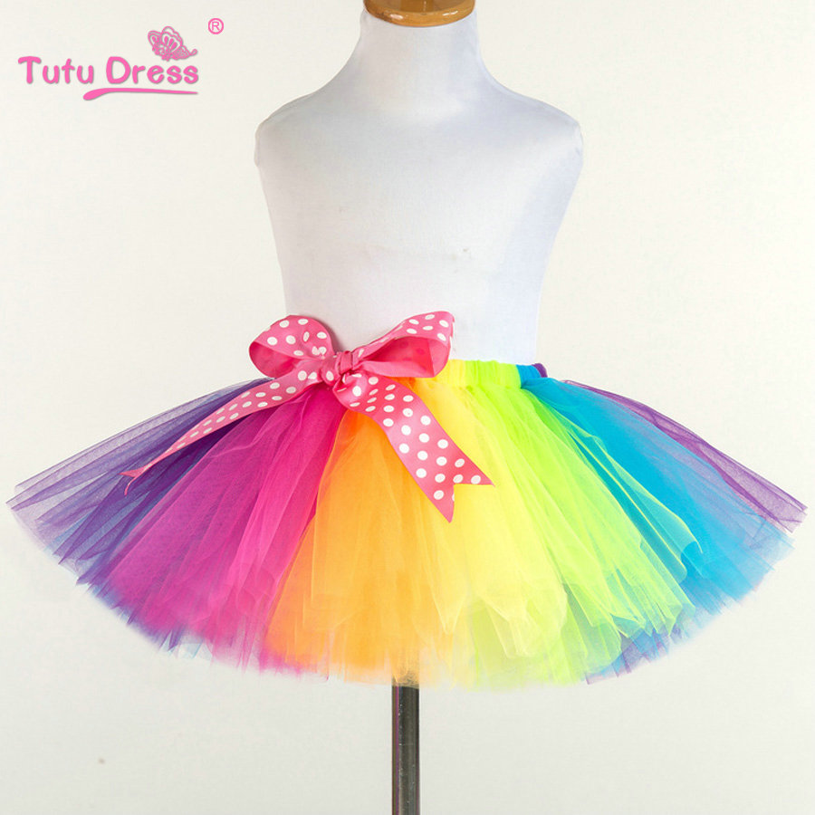 Girls Rainbow Skirt Baby Tutu Skirt Colorful Princess Girls Skirts 2-12 Age Children Clothing Handmade Dance Fluffy Pettiskirt