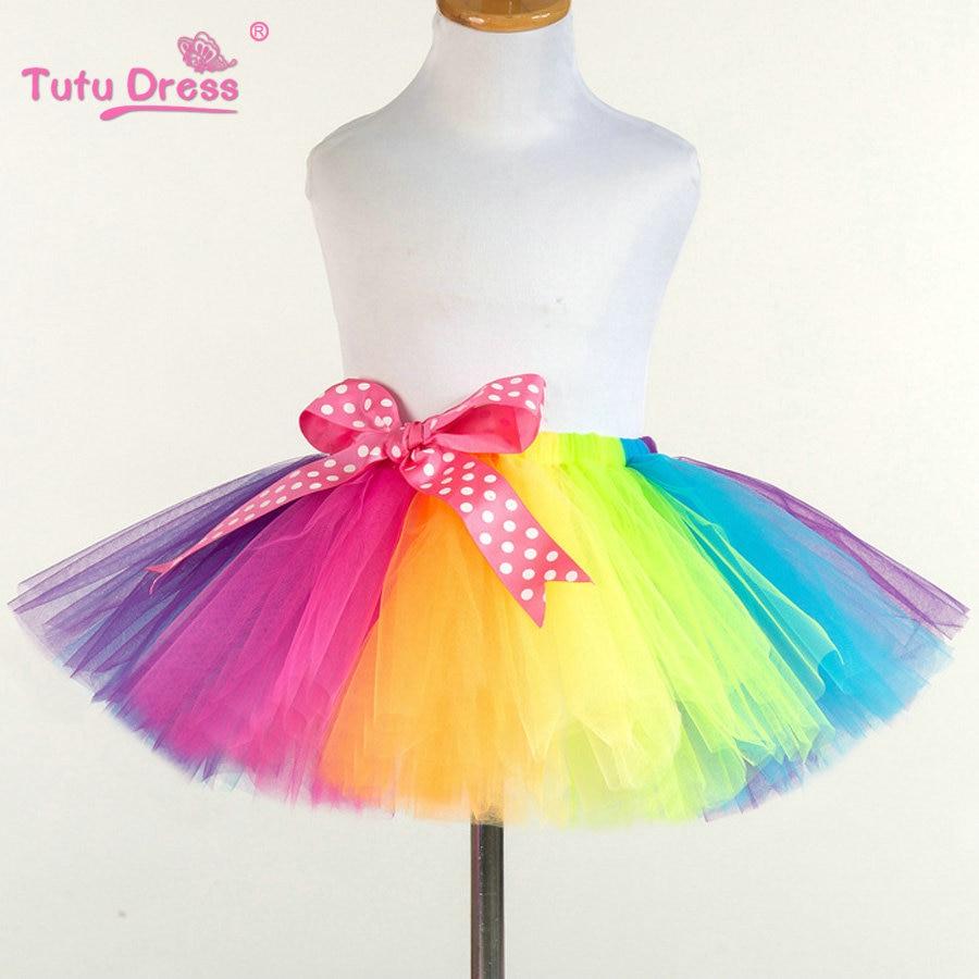 Girls Rainbow Skirt Baby Tutu Skirt Colorful Princess Girls Skirts 2-12 Age Children Clothing Handmade Dance Fluffy Pettiskirt