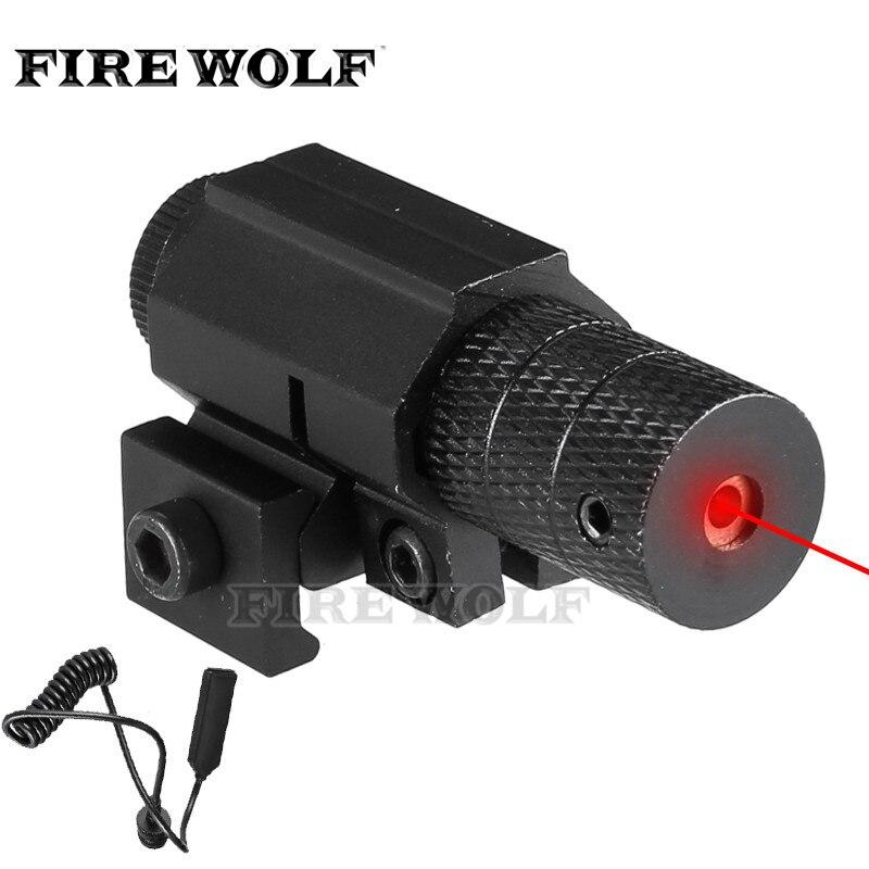 FOGO LOBO Tactical Red Dot Mini Pistola Âmbito Mira Laser Vermelho Com Interruptor Da Cauda Alongar Cauda de Rato Caça Optics Lazer montar
