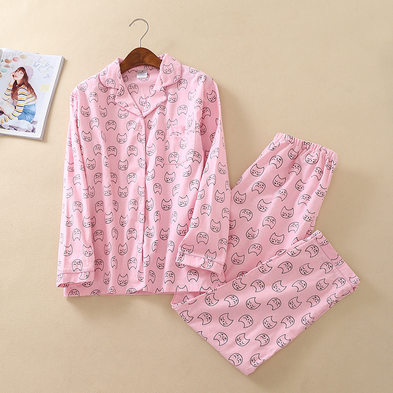 Winter   Pajamas   Women Pink Cute Cat Print Long Sleeve 2 Pieces   Set   Cotton   Pajamas   Loose Elastic Waist Lounge Pyjamas Pijama Mujer