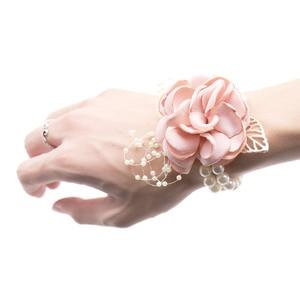 New Wedding Bride Girl Bridesmaid Floral Hand Wrist Corsage Adjustable Ribbon Rose Bracelets Ceremony Party Prom Flower Decor