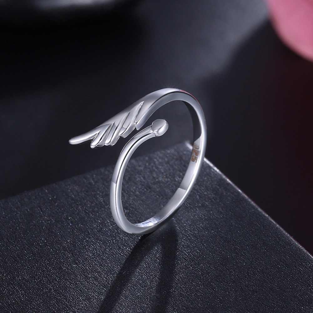 Новое поступление 925, твердые посеребренные кольца Крылья ангела для женщин, серебряные ювелирные изделия, модное открытое регулируемое кольцо на палец, бесплатная доставка