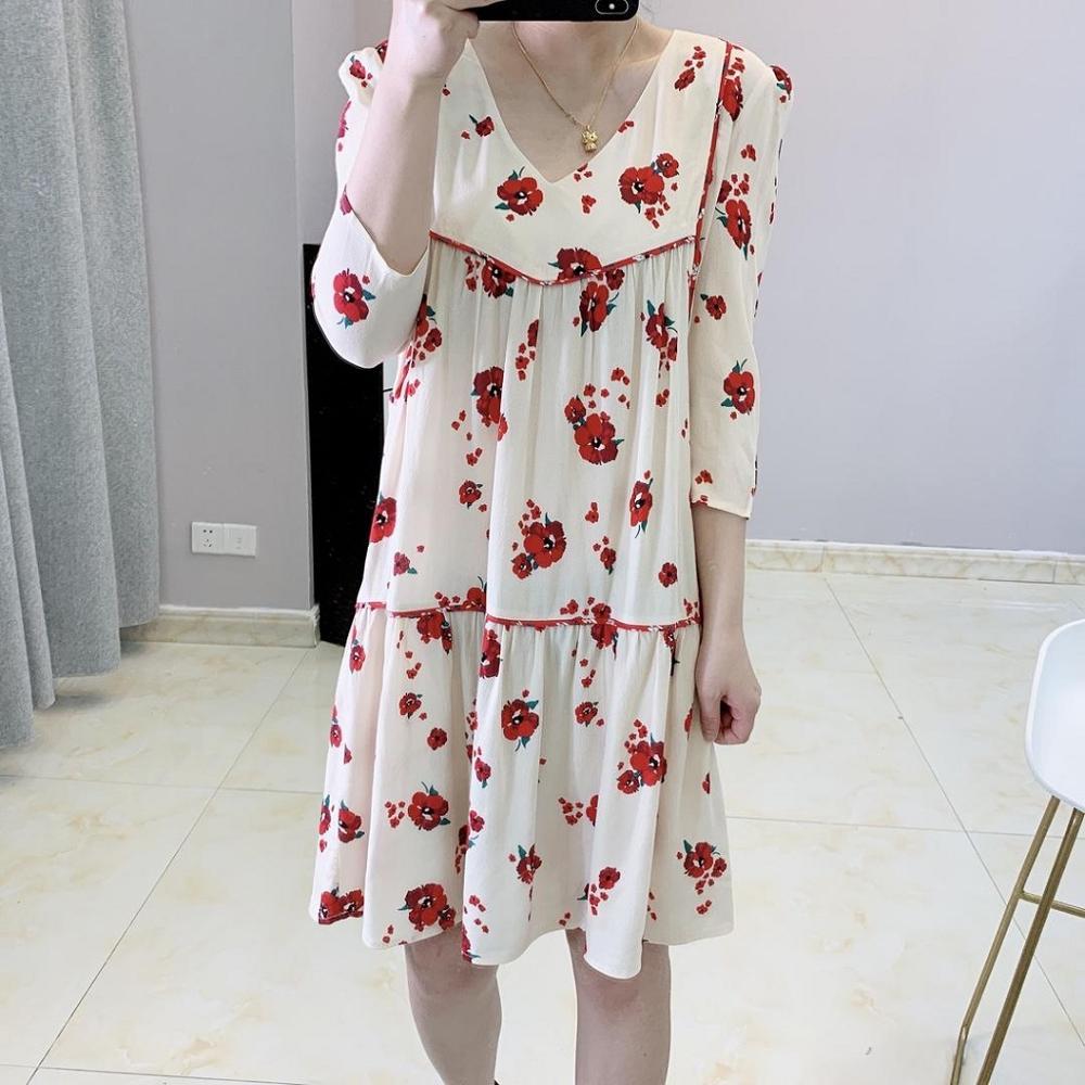 Women Dress 2019 Summer New V neck Small Red Floral Print Half Sleeve Dress