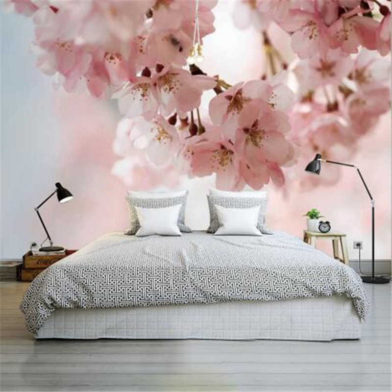 Modern Custom Photo Wallpaper for Walls 3D Pink Cherry Wall Murals Living Room Home Decor Flowers Naturals Landscape Wall Papers shinehome sunflower bloom retro wallpaper for 3d rooms walls wallpapers for 3 d living room home wall paper murals mural roll