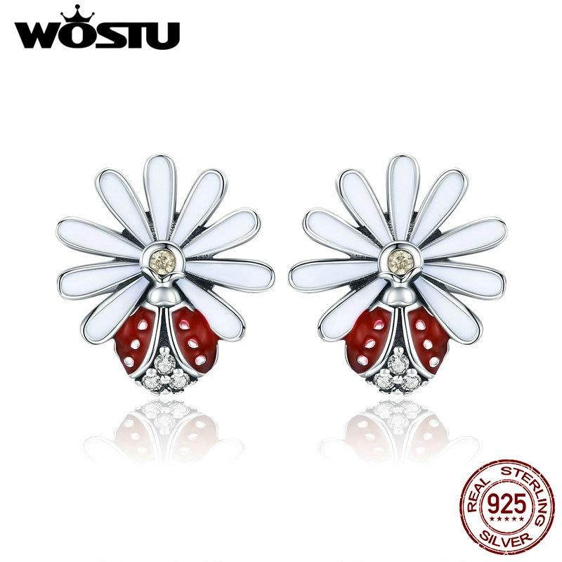 WOSTU Hot Sale 925 Sterling Silver Daisy & Ladybird Stud Earrings For Women Girl S925 Silver Fine Brand Jewelry Gift CQE459