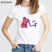 2019 Summer top Funny watercolor Girl with elephant t shirt women balloon tshirt femme harajuku kawaii t-shirt karean clothes