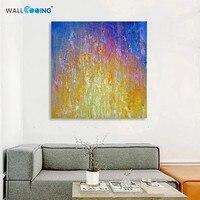 100% lienzo pintado a Mano amarillo púrpura abstracto espero cuadrado pintura al óleo artista fotos wall art pintura Caligrafía