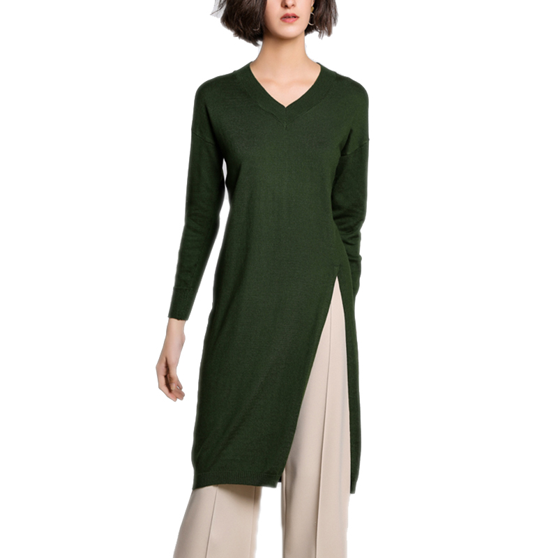 Women Midi Dress Cashmere Wool Knitted V neck Long Sleeve Split Black Green Korean Sweater Dresses