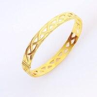Винтаж выдалбливают Браслеты для Для женщин золото Цвет браслет женщина ювелирных изделий Pulseira masculina feminina