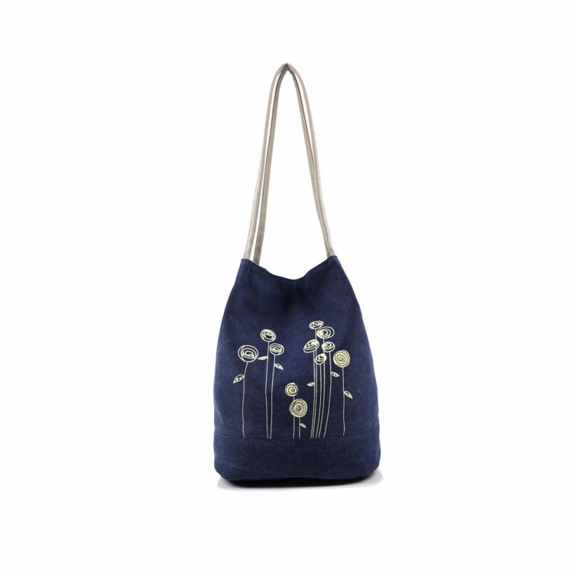 Bag Canvas Floral Tote Women's Messenger Bags Shoulder Bag Ladies Bucket Bolsa Feminina Para Mujer#25