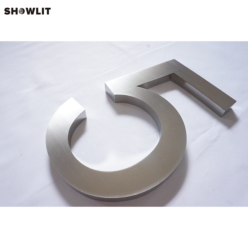 Stainless Steel Brushed Stainless Steel 3D Digital House Numbers цена