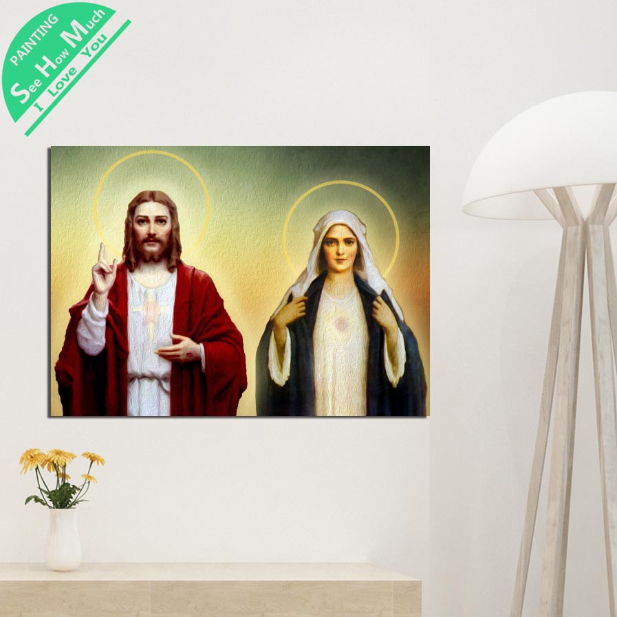 1 Piece Mary Mother of God Jesus HD Printed Canvas Wall Art Posters and Prints Poster Painting Framed Artwork Room Decoration
