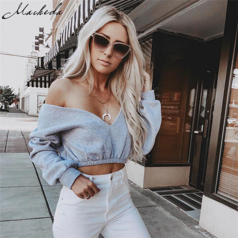 Macheda Women Sexy V-Neck Long Sleeve Tops 2018 New Solid Color Lady Off Shoulder Crop Tops Summer Casual Women T-Shirt Clothing