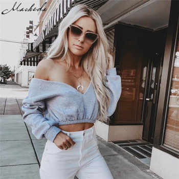 Macheda Women Sexy V-Neck Long Sleeve Tops 2018 New Solid Color Lady Off Shoulder Crop Tops Summer Casual Women T-Shirt Clothing - DISCOUNT ITEM  50% OFF All Category